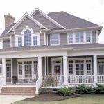Large And Luxurious Country Home Design With Big Porches Plus Two Rocking Chairs And Stairs