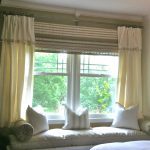 light cream curtain window treatments for wide windows with comfy daybed and cushions