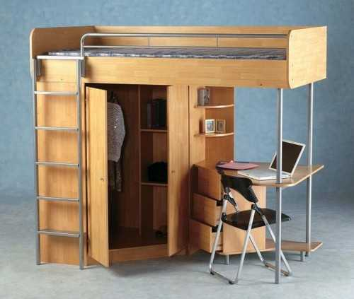 Clever Ways To Design A Living Room And Bedroom Combo: Loft Bed Desk Combo Furniture