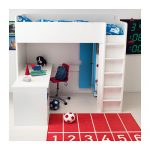 loft bed desk combo in white minimalist red chair with wheels a red rug with numbers motif  a ball in white and red
