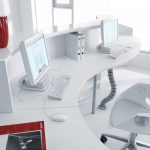 luxurious white u shaped desk design with sophisticated stuff and white swivel chair and large glass window for open plan