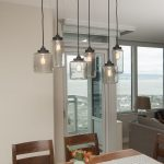 mason jar lighting fixtures for dining room ceiling with long wooden table and chairs