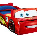 mcqueen disney race car beds for toddlers with blue and red bedding set with storage underneath for kid