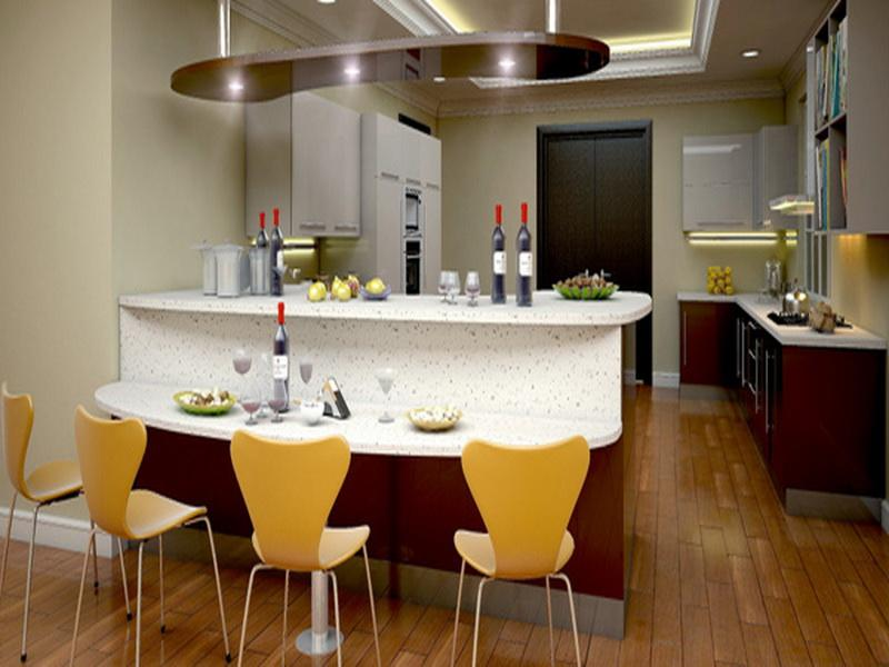Modern And Stylish Kitchen Bar In White Tone Color With Bright Yellow Chairs Wood Planks