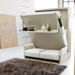 modern bed that folds into wall in combination with loveseat sofa underneath plus rack and modern rug on white flooring