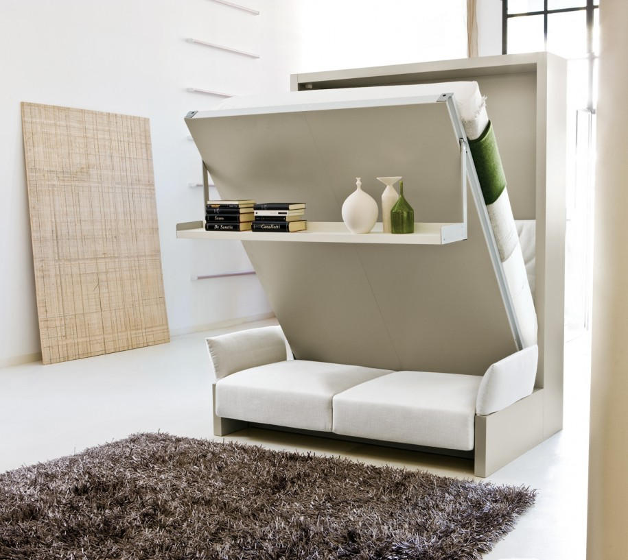 Modern Bed That Folds Into Wall In Combination With Loveseat Sofa Underneath Plus Rack And
