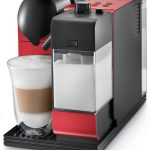 modern black and red plumbed coffee maker machine with direct water line and milk for home kitchen