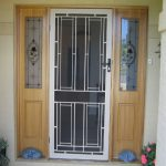 modern glass screen door with white trims and moldings two sidelights with beautiful patterns