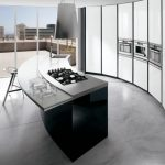 modern minimalist kitchen counter with gas stove and transparent bar panel for barstools built in oven microwave and refrigerator