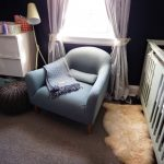 most comfortable reading chair in blue decorated in nursery bedroom with pretty curtain and standing reading lamps plus wooden sideboard plus modern soft rug