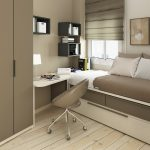 multifunctional furniture for small bedroom a bed furniture with storage underneath a corner desk in white a movable modern chair floating bookshelves light grey clothing closet white washed wood floors