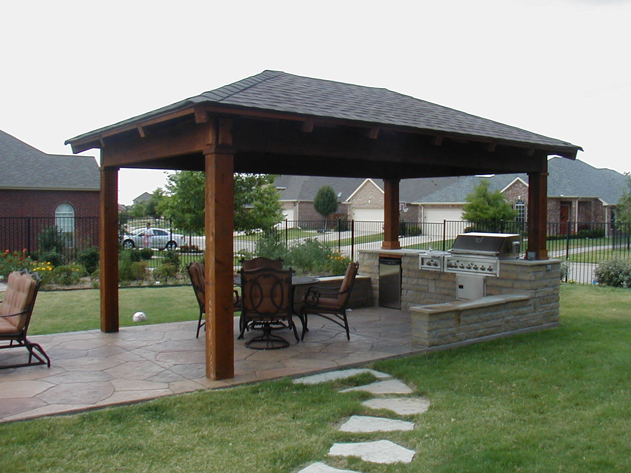 Outdoor Pavilion Plans With Kitchen Idea Wooden Pillar And Black Roof Plus Natural Stone