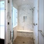 porcelain tile that looks like marble for bathroom decoration ideas combined with shower and glass door