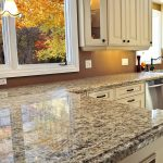 price of granite countertops with stylish motif plus pendant lamp and glass window in kitchen plus white kitchen cabinets