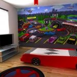 race car beds for toddlers with white black wooden floor and large wall art plus tv stand and wooden flooring and round rug