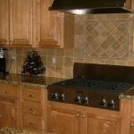 rustic wooden cabinet design with modern kitchen set and marble countertop idea with groutless backsplash idea