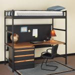 simple and minimalist loft bed combo furniture with workstation and storage underneath a simple black chair a grey rug for floors a table lamp a laptop a globe
