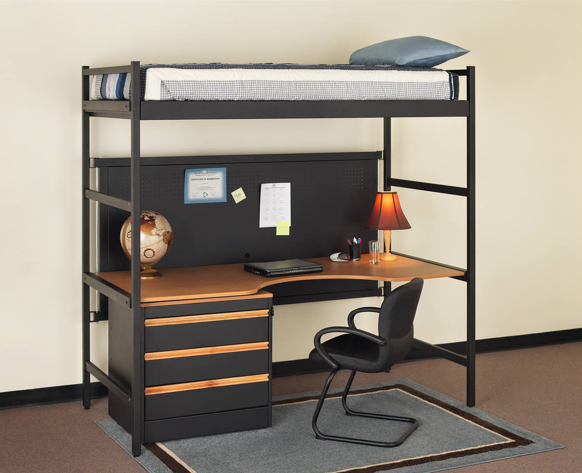 loft bed desk combo furniture homesfeed. Black Bedroom Furniture Sets. Home Design Ideas