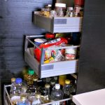simple ikea pull out pantry for kitchen ingredient storage in wooden material and shelf decorated aside with cabinets