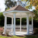 simple outdoor pavilion plans pergola with regular roof and painted in white built in backyard with gardeb