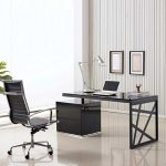 Slim Computer Desk Design In Black Style With Unique Legs With Black Boxy File Storage With Black Tall Backrested Swivel Chair