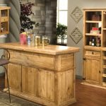 small bar table in rustic style with single barstool a special storage for storing wine collections
