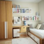 small bed furniture with drawers underneath floating bookshelves in white small wood top table with under storage a small chair in wood material with tiny metal legs white rug for wood floors