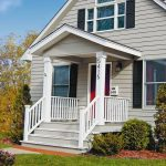 small front porch without furniture wood rails for porch in white tone color