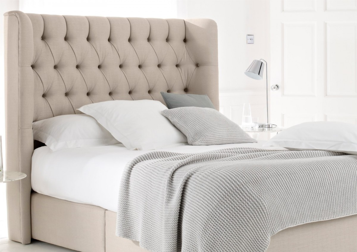 soft tufted king size headboard ikea with comfy bedding set and pillows plus cushions combined with glass nightstand and cool metal lighting