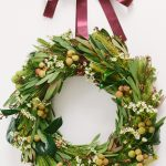 spring holiday wreath with green leaf and flowers plus purple ribbon diy
