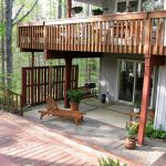 stunning natural wooden porch design with open plan and wooden vertical deck porch skirting with relaxing chair and wooden deck and bench