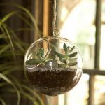 stunning round bowl indoor hanging plant pot with unique small greenery with rope and big greenery aside