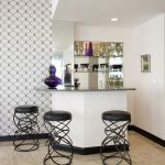 stylish corner mini bar with unique barstools some decorative item modern patterns wallpaper