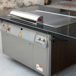 teppanyaki hibachi grill for home with granite countertop and wooden frame