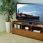 unique  tv consoles in wooden material with tv and clock plus book and soft rug on wooden floor plus plant pot