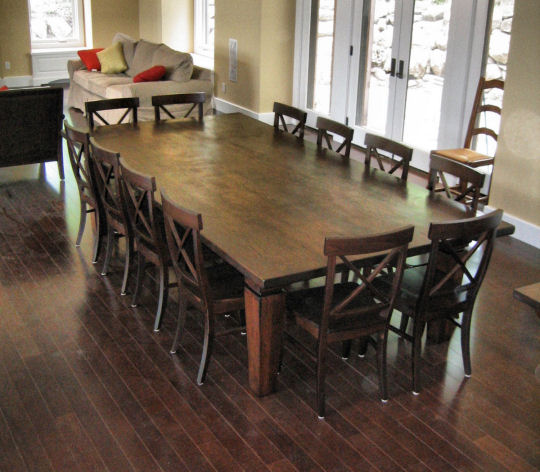 Vintage Wooden Long And Large Dining Table Design For 12 People With Chairs