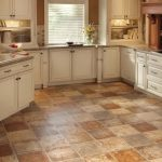 vinyl tile flooring options for kitchens with white cabinetd and kitchen windows covered by blinds
