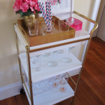 white and gold bar carts ikea with flower vase and cute straws and cocktail glasses and pretty pictures and wooden laminating floor