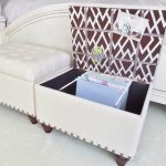 white ottoman design in bedroom with chevron inner pattern with file storage before white wooden footboard