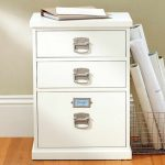 white wood file cabinet ikea in modern design with steel handles and three drawers together with rolled paper on metal basket for home office decoration