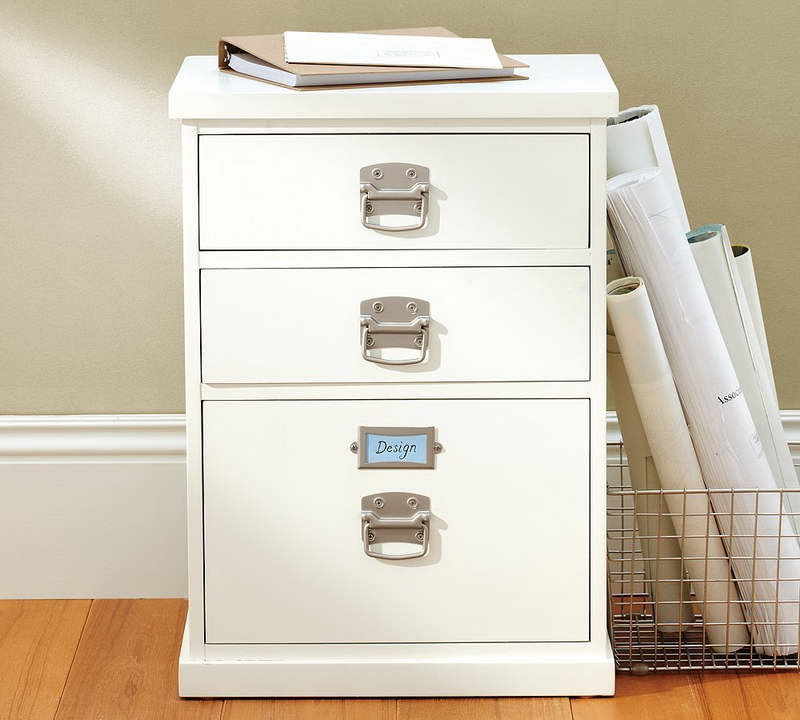 White Wood File Cabinet Ikea In Modern Design With Steel Handles And Three Drawers Together
