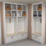 white wood mudroom storage units in modern style with shelves and storage plus granite and grey flooring decorated on the corner for home furniture ideas