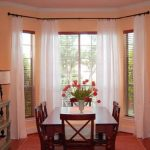 window coverings for bay windows with white curtain and blinds for dining room with wooden table and chair plus standing lamp