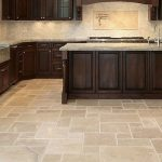 wonderful flooring options for kitchens with limestone tile design with dark wooden cabinets finishing
