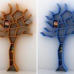 wonderful modern and colorful tree shaped bookshelves desin in orange and blue colors on the white wall