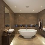 Wonderful Modern Bathroom Idea With Luxurious Round Tub Design And Brown Floating Vanity With Large Frameless Wall Mirror And Brown Wall With Exclusive Lighting