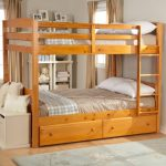 wood loft bed furniture with double beds furniture and under storage and also built in stairs a white settee furniture with  white pillows white rug for wood floors