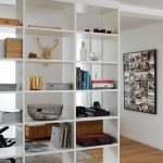 wooden bookcase room separator ikea in living room with photo frame on wall decoration with wooden laminate floor furniture ideas