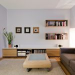 wooden low profile media console with media storage and books in living room with loveseat and coffee table with soft beige rug underneath and bookshelves and photos on wall