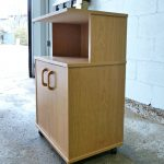 wooden microwave cart ikea in simple design with wooden knobs and wheel for kitchen furniture